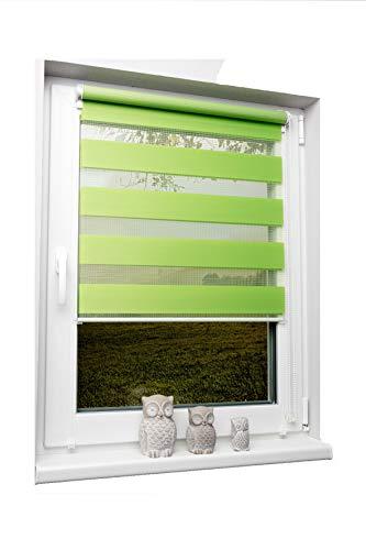 Doppelrollo Duorollo verschiedene Farben und Größen ohne Bohren Klemmrollo Seitenzugrollo Grün 110×150 cm - 9