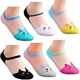 PINKIT Women's Cute Cat Ankle High Cotton Soft Socks with Transparent Crystal Lace (Assorted Colour, Free Size)