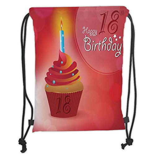Drawstring Sack Backpacks Bags,18th Birthday Decoration,Sweet Eighteen Party Birthday Cupcake with Candles,Hot Pink Red and Orange Soft Satin,5 Liter Capacity,Adjustable String Closure,