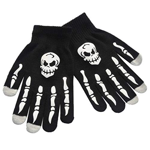 ene Kinder Winter Fahrrad Vollfinger-Handschuhe Halloween Horror Skull Kralle Skelett Anti-Rutsch-Gummi Outdoor Fäustlinge Handgelenk Warmer ()