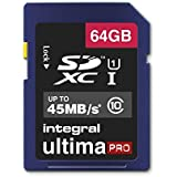 64 GB , Standard Packaging : Integral UltimaPro 64 GB SDXC Class 10 Memory Card up to 45 MB/s, U1 Rating
