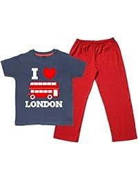 I LOVE LONDON BUS With Text Children Pyjama Set For Boys & Girls