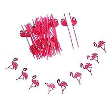 Sharplace 1 Pedazo Bandera Tropical Hawaiana de Flamingo + 25 Pedazos Pajas de Beber Luau Playa Party Decoración de Verano