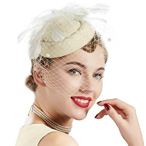 Coucoland Feder Fascinators Hut Damen Blumen Mesh Elegant Hochzeit Fascinator Haarreif Cocktail Tee Party Accessoires (Sahne)