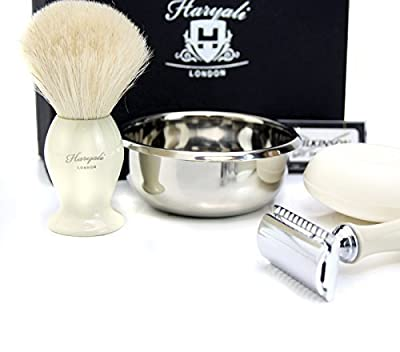 Double Edge Safety Razor Shaving Set With Badger Hair Brush, Stainless Steel Bowl & Soap.perfect As A Gift To Men's