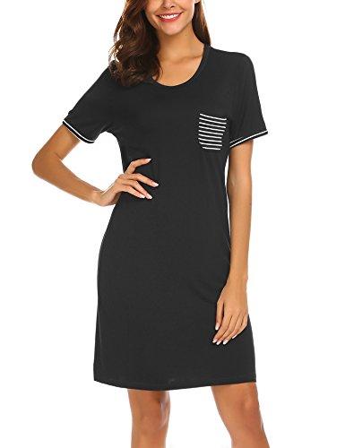 MAXMODA Damen Negligee Kurzarm Nachthemd Sommer Schlafanzug Sleepshirt mit Gestreifte Tasche Schwarz S -