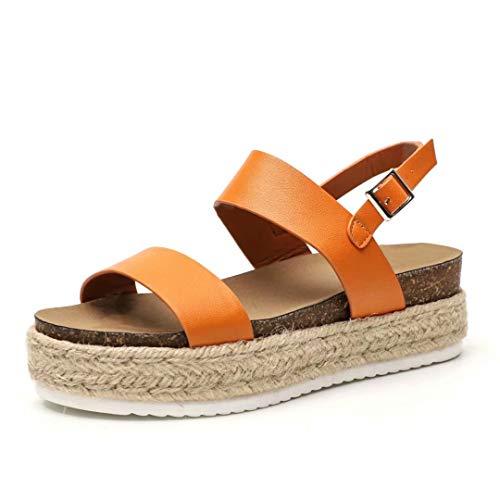 Espadrilles Sandale Compensées Femme Ete Plateforme Cuir 5 CM Talon Haut Bout Ouvert Plates Chaussure Plage Boucle Confort Mode Marron 38