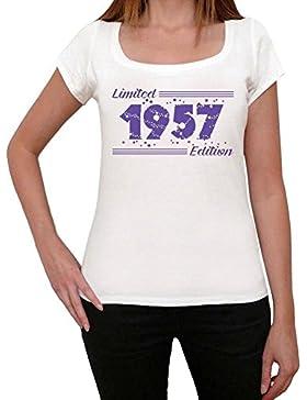 1957 Limited Edition Star Mujer Camiseta Blanco Regalo De Cumpleaños