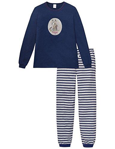 Schiesser Mädchen Zweiteiliger Md Schlafanzug Lang, Blau (Dunkelblau 803), 128