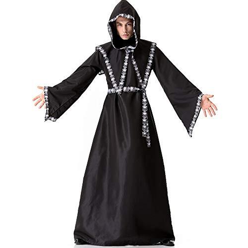 POIUYT Erwachsene Halloween Cosplay Schwarz Cheongsam Avengers Wizard Cos Robe Bühnenkostüm - Herren Kostüm Ball Bühnenkostüm Requisiten,Black (Wizard Halloween-kostüm Robe)