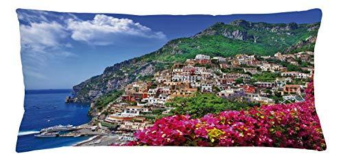 ABAKUHAUS Italia Copricuscino, Positano Amalfi Napoli, Stampa Digitale a Due Lati con Cerniera, 90 x 40 cm, Rosa Verde Blu