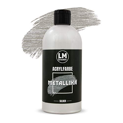500 ml (Silber) - Metallische Glanz-Farbe Metallic-Farbe Acryl-Farben Maya Gold Edelmetall Farben Metall-Farbe ()
