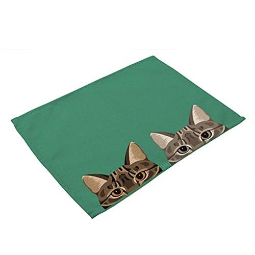 Sukisuki cartoon dog cat semplice da pranzo tovaglietta da tavola pad piatto per bambini home kitchen decor 42x 32cm, cotone lino, 9#, taglia unica