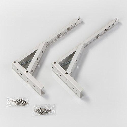 Preisvergleich Produktbild 1 Paar SO-TECH® Klappkonsole 292, 5 x 20, 5 x 136 mm Stahl weiß beschichtet Tragkraft 55 kg