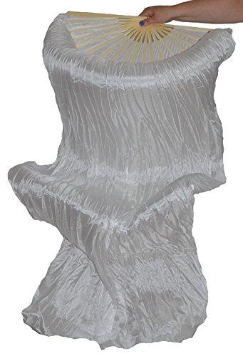 Schleierfächer Tanz Fächer Fächerschleier Seidenfächer Flügel Bauchtanz 1 Paar Weiß