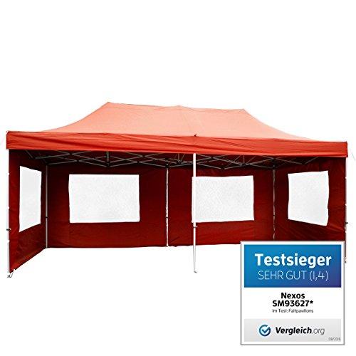 Falt-Pavillon Partyzelt mit Seitenteilen solide Ausführung für Garten Terrasse Feier Markt als Unterstand Plane wasserdichtes Dach  270/m² 3 x 6 m terracotta