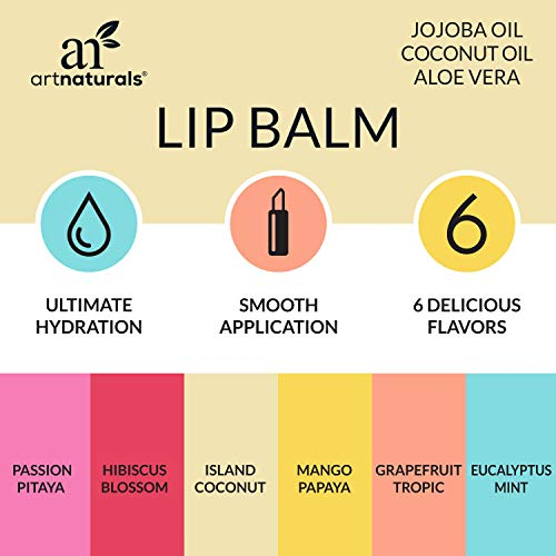 ArtNaturals Set de 6 Baumes à Lèvres, 6 x 4,25 g