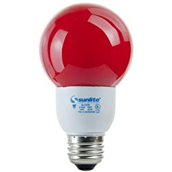 Sunlite SLG9/R SLG9/R 9-watt Colored Globe Energy Saving Medium Base CFL Light Bulb, Red