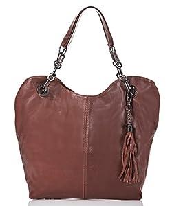italienische Damen Handtasche Prag aus echtem Leder in haselnuß braun, Made in Italy, Shopper Bag 42x28 cm
