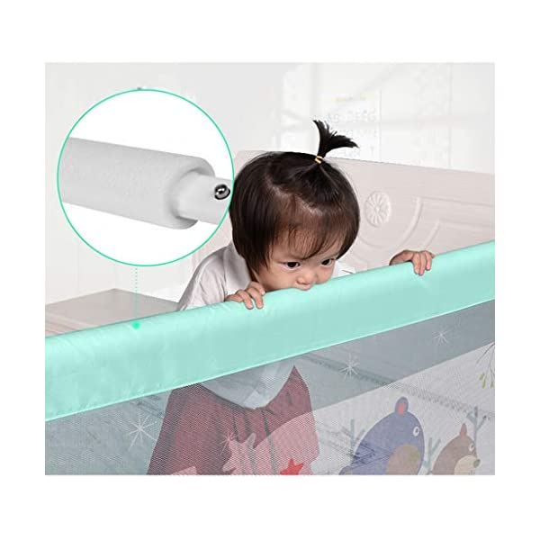 Playpens Crib Guardrail Baby Shatter-resistant Fence Large Bed 1.2-2.2 Meters Children Against Bedside Baffle (color : B, Size : 1.8m) Playpens ★ high quality non-toxic materials,Size:120cm/150cm/180cm/200cm/220cm ★ Vertical lift structure: no space is occupied, and it is more convenient to enter and exit. Push the fence down at the push of a button ★ height adjustment: can be adjusted according to the thickness of the mattress, so that the bed is close to the mattress. Avoid gaps between the mattress and the guardrail to prevent your child from falling 13