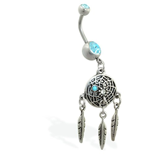 Double Jeweled Aqua Bauch Ring mit baumelnder Dream Catcher und - Button Catcher Dream Belly