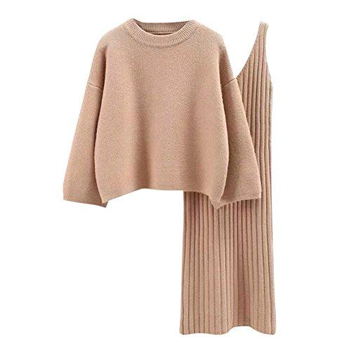 semen Damen Strick Kleid Set Oberteil Pullover Frauen Clubwear Blues und Rock Bodycon 5 teiliges Set Minikleid aus Strick Pullover Dress Kleid