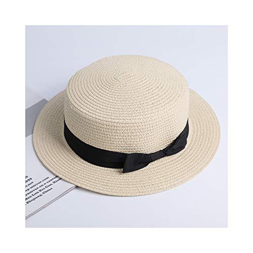 CMWANG Sommer-Eltern-Kind-Strand-Hut-weiblicher beiläufiger Panama-Hut-Dame Women Flat Krempe Bowknot Straw Cap Sun Hat