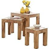 FineBuy 3er Set Satztisch Massiv-Holz Akazie Wohnzimmer-Tisch Landhaus-Stil Beistelltisch dunkel-braun Naturholz Couchtisch Natur-Produkt Wohnzimmermöbel Unikat Massivholzmöbel Echtholz Anstelltisch