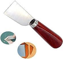 Hrph Herramienta Cuchillo de artesanía leathercraft buena calidad de corte de acero inoxidable de cuero con mango de madera