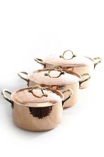 CopperGarden Topfset  3 x Kupfertöpfe mit Deckel  lebensmittelecht verzinnte Töpfe aus Kupfer