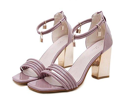 GLTER Donne Court Shoes Tacchi Open-Toe Pumps estate sandali vuoti Sandali con tacco Quadrato Testa Scarpe semplici Pink