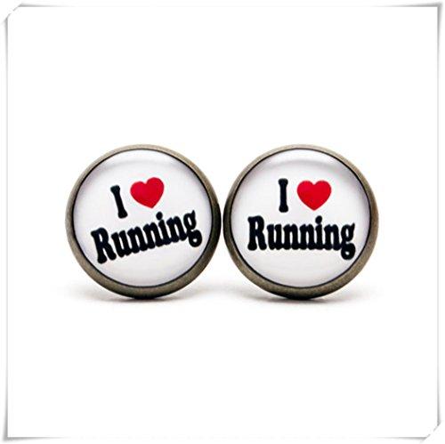 JUN I Love Running Ohrstecker, Runner Schmuck, Sport Schmuck, Schmuck, Love Running Passion Fitness Jewelry