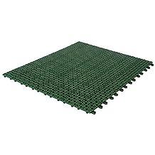 Baldosas flexibles en plástico, 55,5 x 55,5 cm, por interior / exterior y jardín , de drenaje autobloqueantes verde, 4 piezas