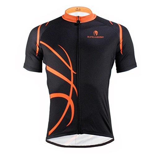 Rosfajiama Mens Short Sleeves Team Cycling Jersey Outdoor Sports Bicycle Bike Shirt Reflective Black Large -