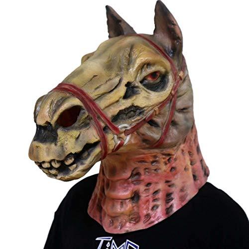 Pferdekopf Kostüm Machen Einen Sie - Yuyudou Pferdekopf Maske, Neuheit Halloween Kostüm Party Latex Tierkopf Maske, Zombie Horror Pferdekopf Maske,Rot,L
