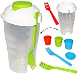 Unbekannt 3 Stück _ Salatbecher / Müslibecher / Joghurtbecher -  to GO  - incl. jeweils 1 Gabel & 1 Dressingbehälter - 850 ml - Salatbehälter mit Deckel - transparent..