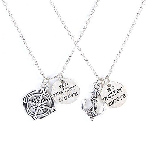 LUOEM Geschenk-Halsketten-Schmucksache-Set-Freund-Liebhaber-Paare Halskette Kompass-Anker-Halsketten-gesetzte beste Freund-Geschenk-Freundschafts-Halsketten 2PCS (Beste Freunde Halskette Set)