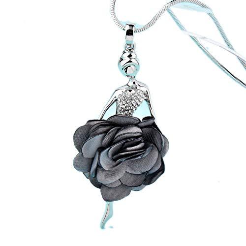 it Anhänger für Mädchen, Samt, graue Blume, tanzender Engel, lang, Silberfarben, metall, Red Flower, Einheitsgröße ()