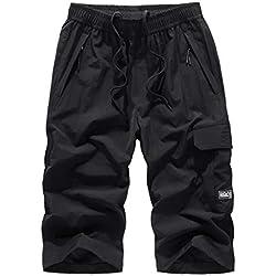 Bermuda Homme Confortable Style Taille Elastique Corde De Serrage, Shorts de Bain Homme Maillot Eté Sport Grande Taille Respirant Séchage Rapide Transpirant Large(L-8XL) (8XL, Noir)