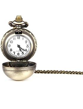 GSPStyle Damen Metall Taschenuhr Anhänger Halskette Sphärische Quarz Uhren Schmuck Farbe Kupfer