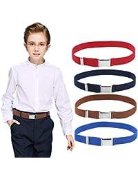 Cinturón con hebilla elástica para niños, 4 piezas, cinturón ajustable con cinturón plateado con hebilla cuadrada para niños