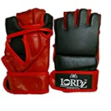 LORDZ Half Finger Boxing Gloves MMA Sparring Grappling Fight Punch Ultimate Mitts Leather Gloves