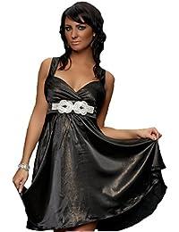 06a5a454cf6a Damen - Kleid Knielanges Satin Kleid Aermellos V-Ausschnitt Wickeloptik  Rueckenfrei Abendkleider
