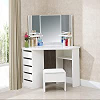 TUKAILAI White Corner Dressing Table Mirror Set with Stool Bedroom