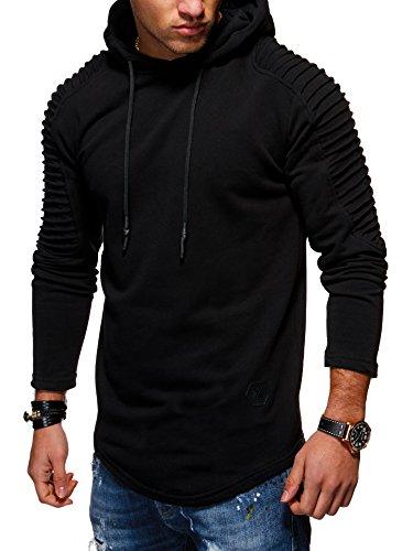 MT Styles Herren Oversize Hoodie Biker Kapuzenpullover Pullover MT-1116 [Schwarz, XL] Biker Hoodies