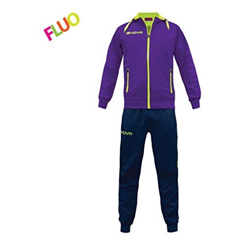 Marchio givova - modello tuta winner - completo di giacca con zip manica lunga e pantalone / home shop italia (viola/ giallo fluo, m)
