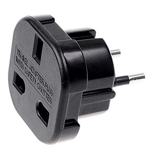 Continental UK 3-polig zu Schuko 2-Pin Europa Reiseadapter schwarz
