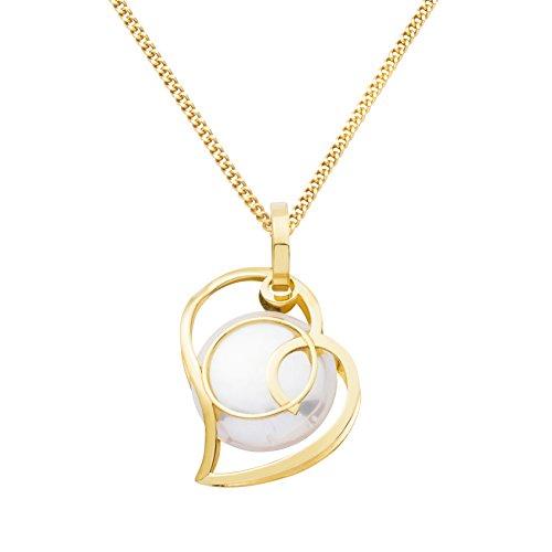 Miore Damen-Halskette 9 Karat (375) Gelbgold Perlmutt Herz-Anhänger 45 cm Kette MA9095N
