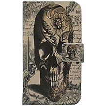 Samsung Smartphone caso [con lápiz capacitivo], lujo cartera titular de la tarjeta magnética para–Funda de piel con tapa para smartphone Samsung, calavera, Samsung Galaxy J5 SM-J500H