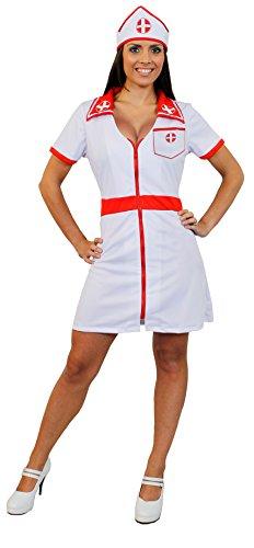 Déguisement pour femme avec cette tenue d'infirmière sexy blanche et rouge comprenant une jupe courte + une coiffe. Idéal pour les enterrements de vie de jeune fille. ( XXLarge )